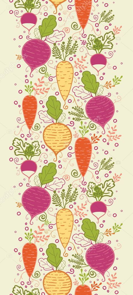 Root vegetables vertical seamless pattern background border