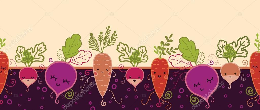 Happy root vegetables horizontal seamless pattern background