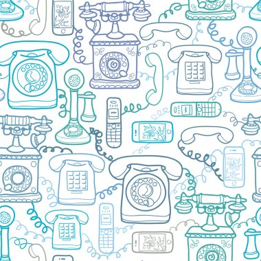 Vintage and modern telephones seamless pattern background