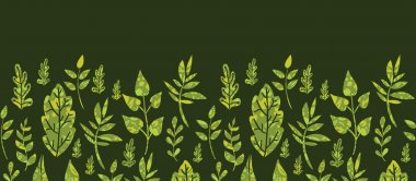 Textured green Leaves Horizontal Seamless Pattern Background