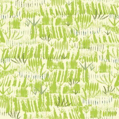 Painting of green grass seamless pattern background