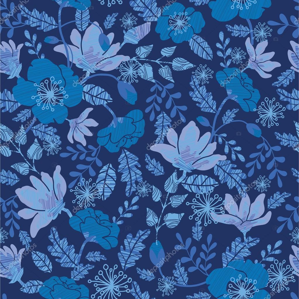 Dark night flowers seamless pattern background