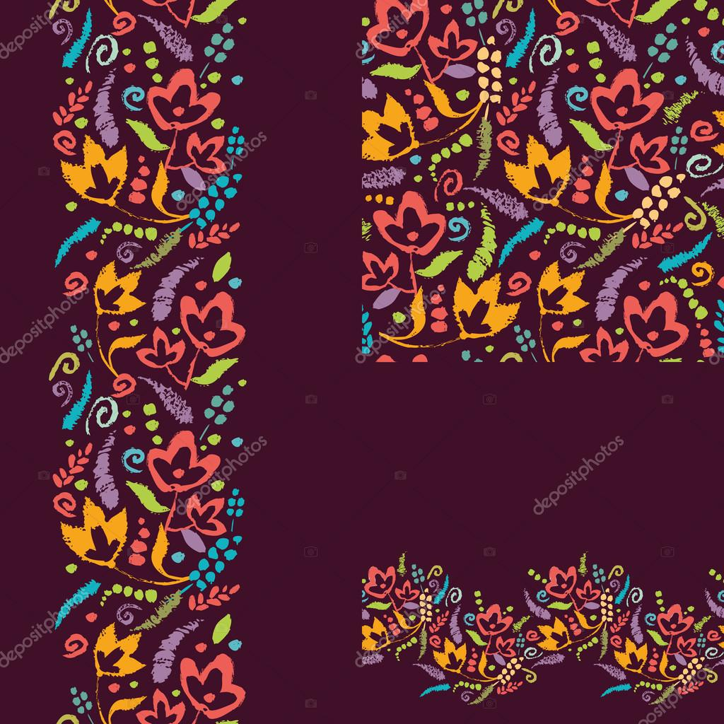 Set of painted plants seamless pattern and borders backgrounds