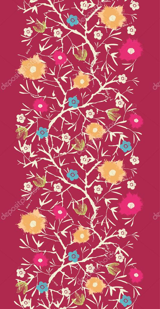 Painterly blossoming tree vertical seamless pattern background