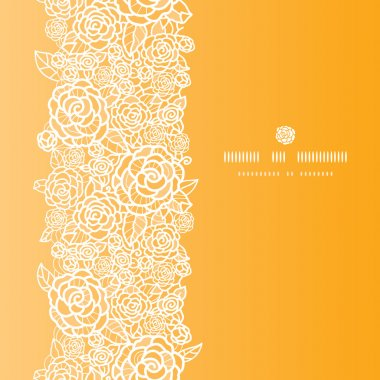 Golden lace roses vertical seamless pattern background