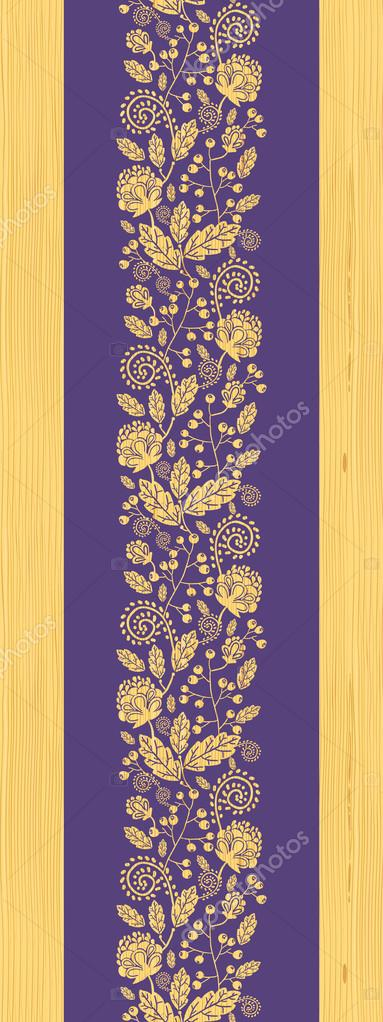 Wooden texture fall plants vertical seamless pattern background