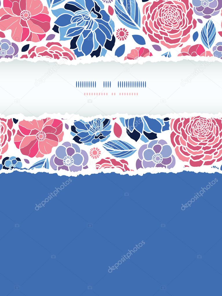 Summer flowers torn paper vertical seamless background