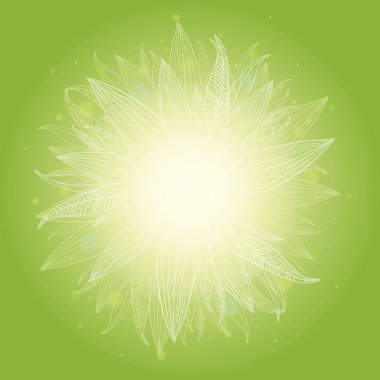 Magical green leaves sunburst background