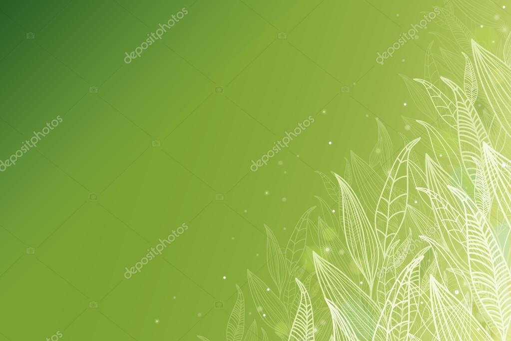 Green glowing leaves horizontal background
