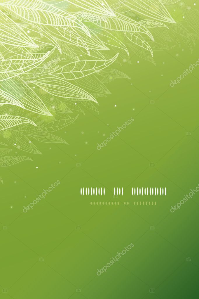 Green glowing leaves vertical template background