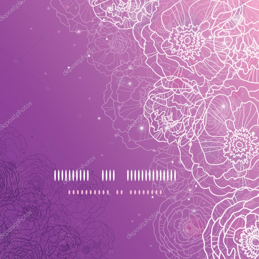 Purple glowing flowers magical square template background