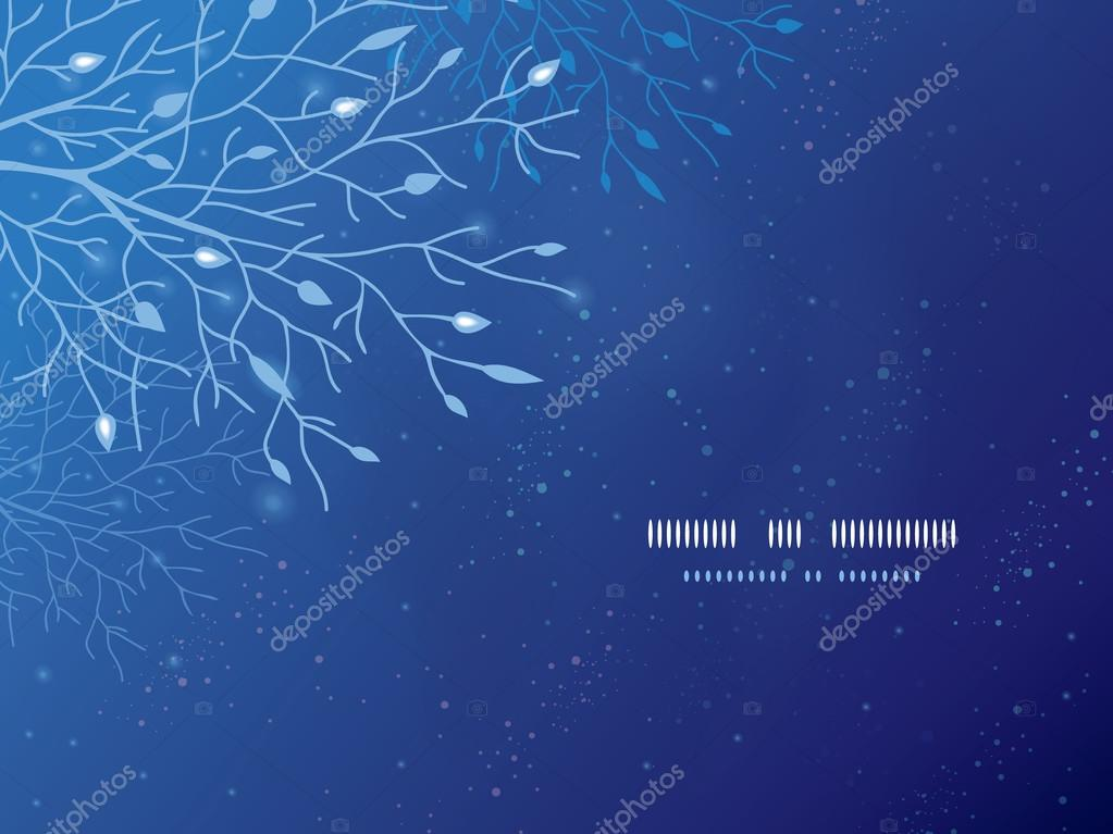Glowing tree in the night horizontal template background