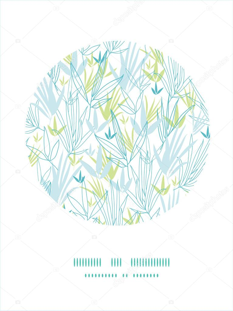 Blue bamboo branches frame seamless pattern background