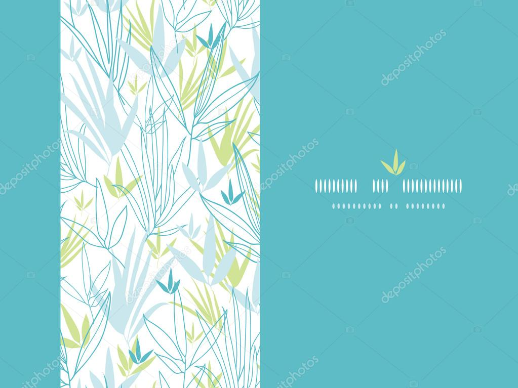 Blue bamboo branches vertical decor background