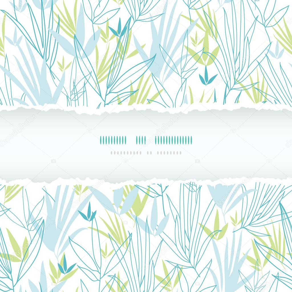 Blue bamboo branches torn frame seamless pattern background