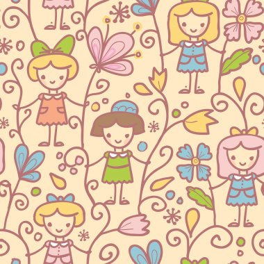 Girls with flowers seamless pattern background