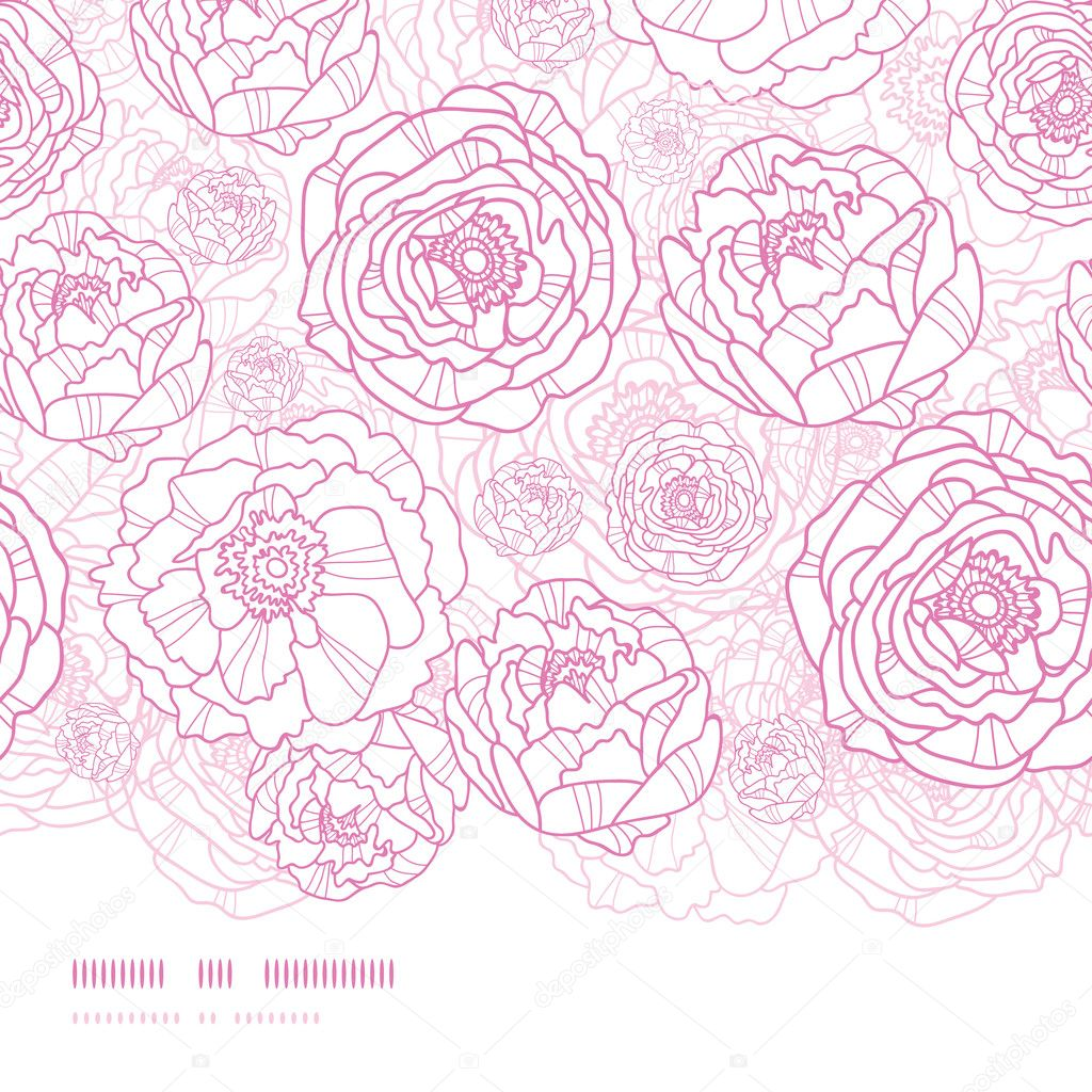 Pink line art flowers horizontal seamless pattern background