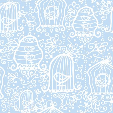 Drawing of birds in cages seamless pattern background