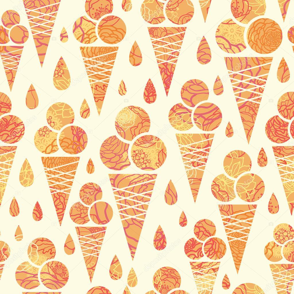 Ice Cream Cones Seamless Pattern Background Stock Vector: Summer Ice Cream Cones Seamless Pattern Background