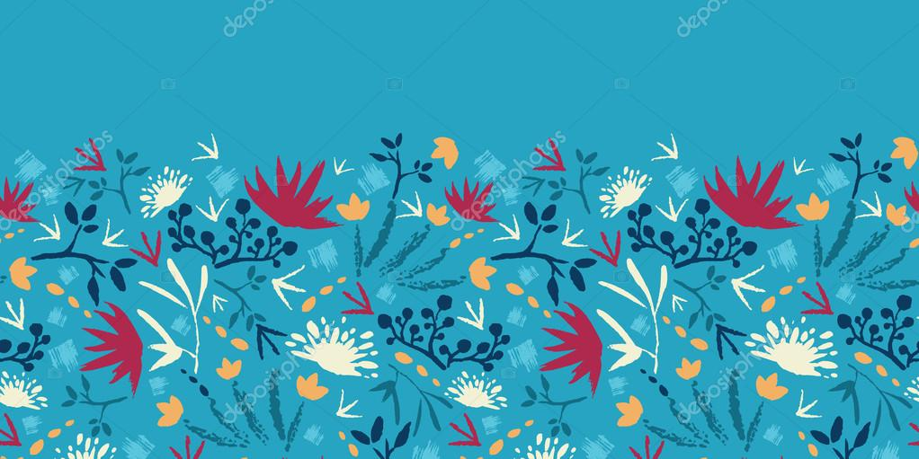 Painted abstract flowers and plants horizontal seamless pattern raster