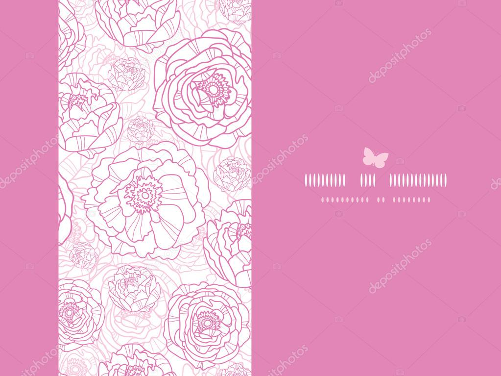 Pink line art flowers horizontal card seamless pattern background