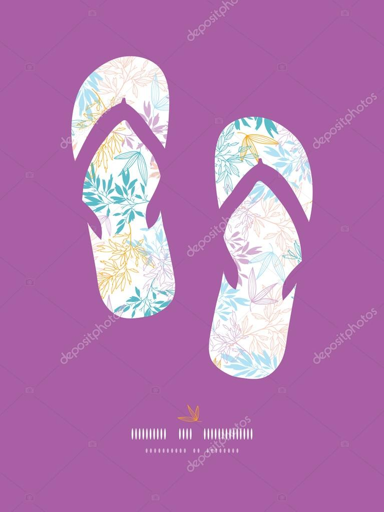 Colorful pastel branches flip-flops decor pattern background