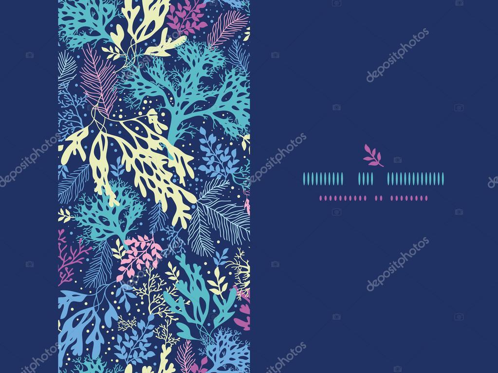 Underwater seaweed horizontal seamless pattern background