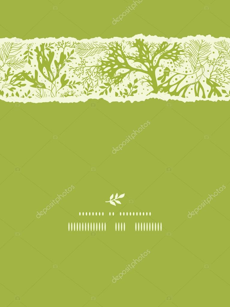 Green underwater seaweed vertical torn seamless pattern background