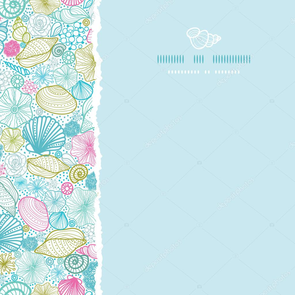 Seashells line art square torn seamless pattern background