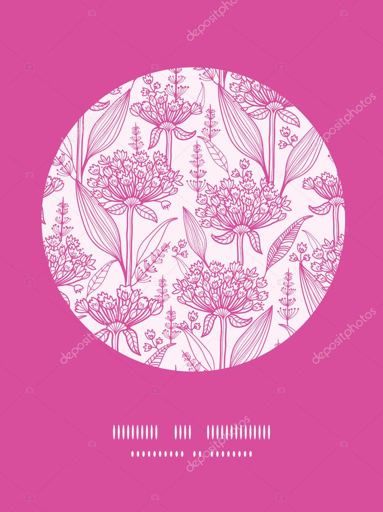 Pink lillies lineart circle decor pattern background