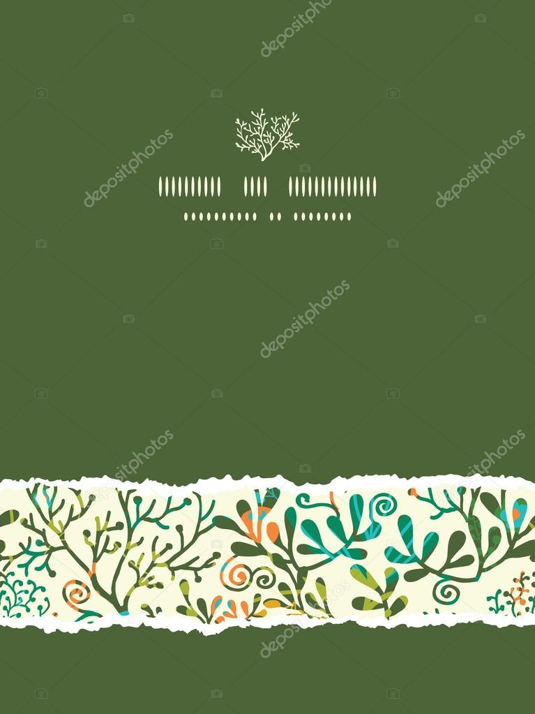 Textured Plants Vertical Torn Seamless Pattern Background