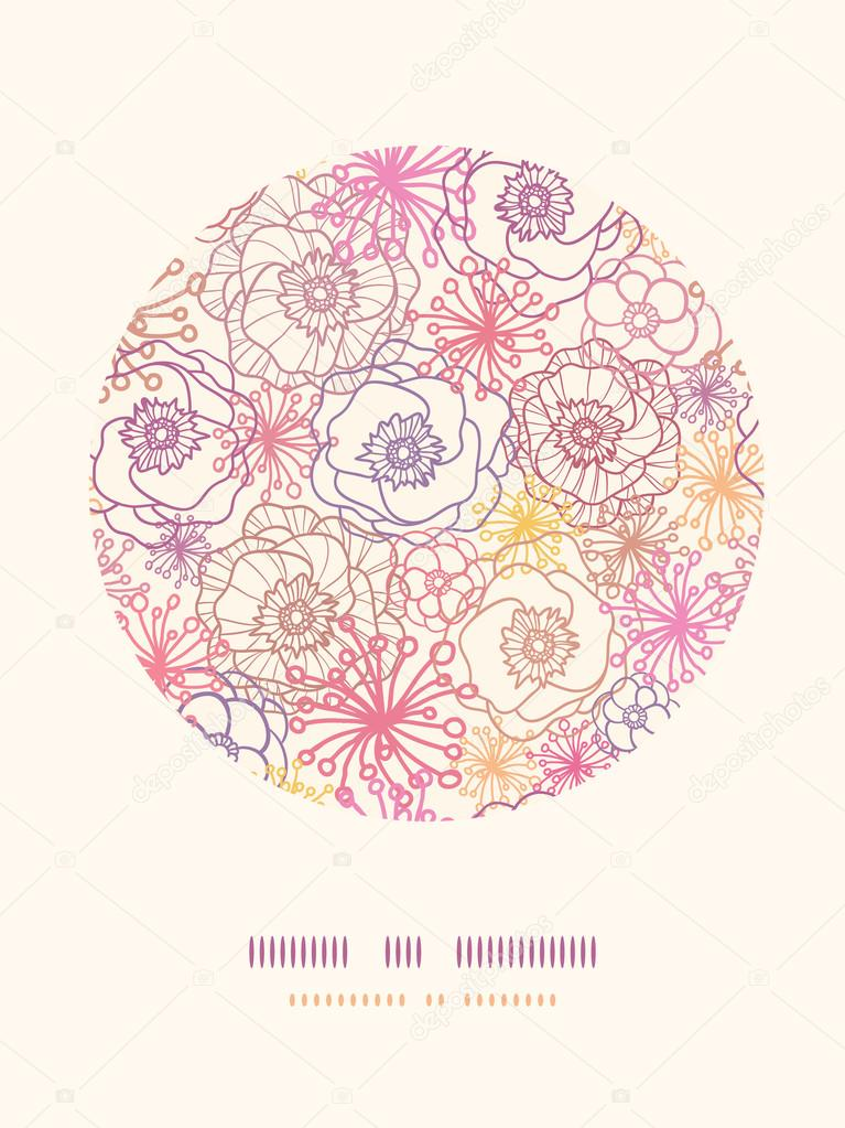 Subtle field flowers circle decor pattern background