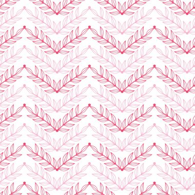 Pink lineart leaves chevron seamless pattern background