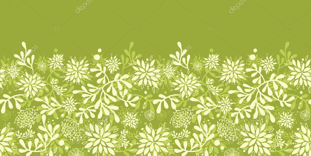 Green underwater plants horizontal seamless pattern background border