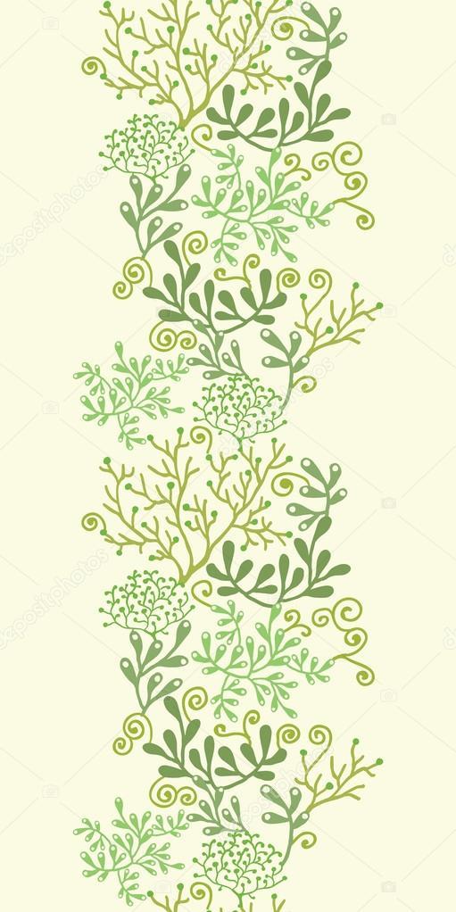Underwater seaweed garden vertical seamless pattern background