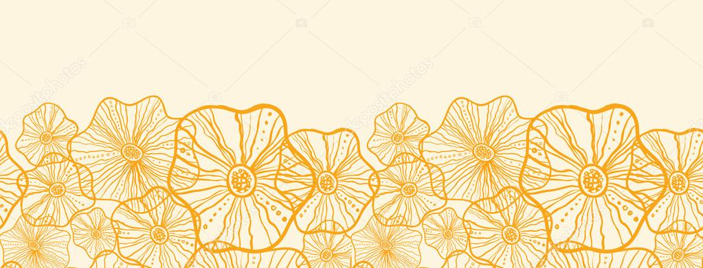 Yellow floral shapes horizontal seamless pattern background