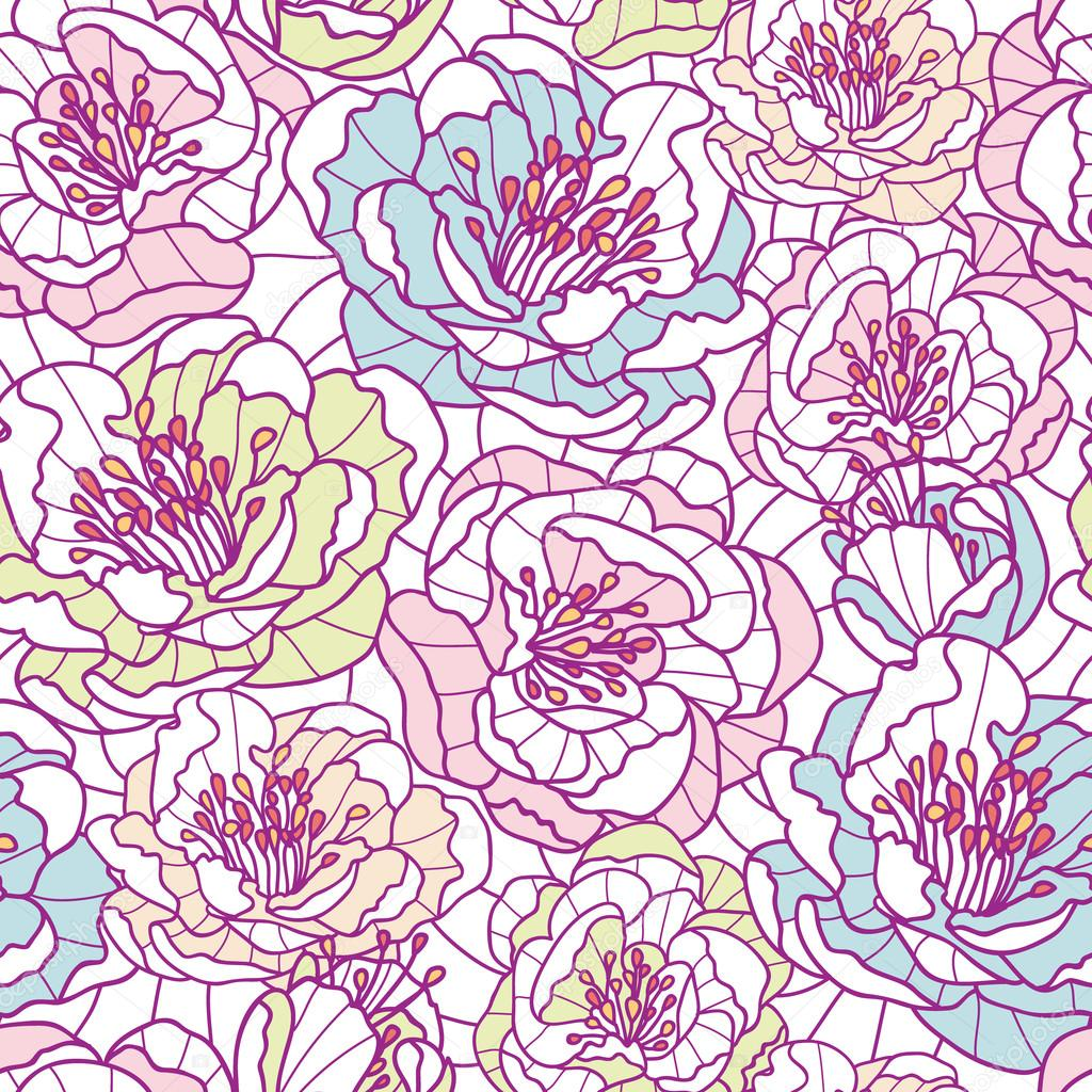 Colorful line art flowers seamless pattern background