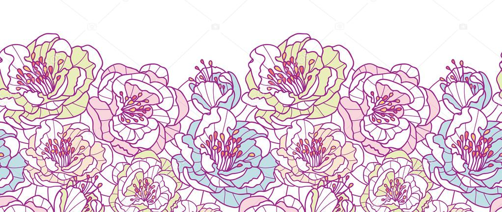 colorful line art flowers horizontal seamless pattern floral border vector cdr flower border vectors free