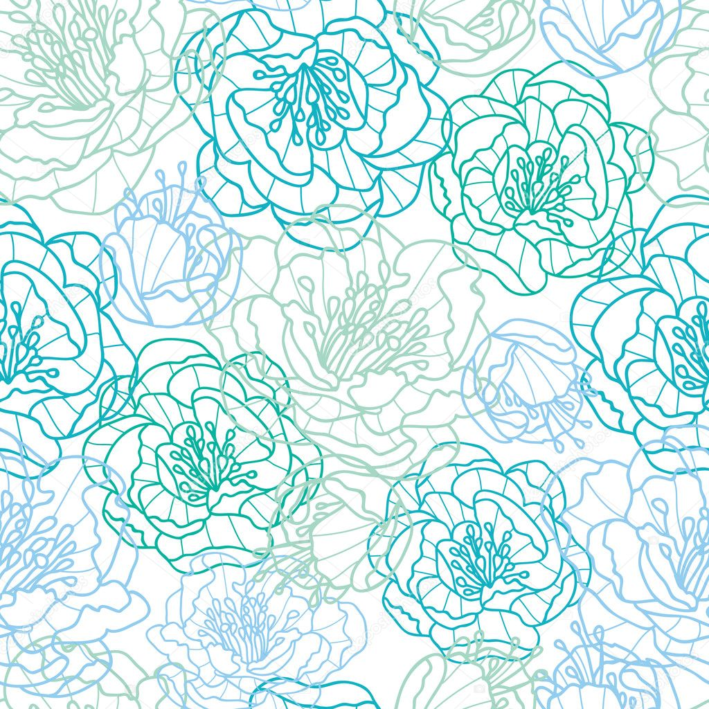 Blue line art flowers seamless pattern background