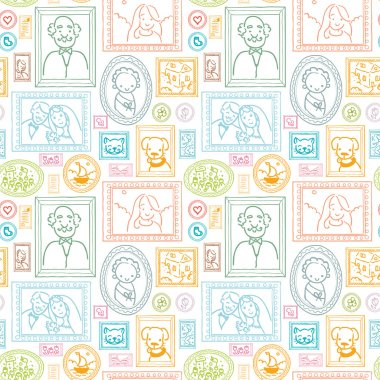 Family framed pictures seamless pattern background