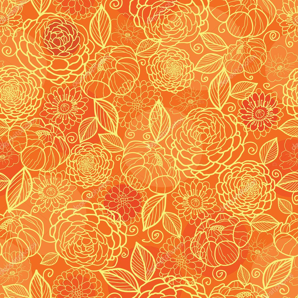 Golden orange floral texture seamless pattern background