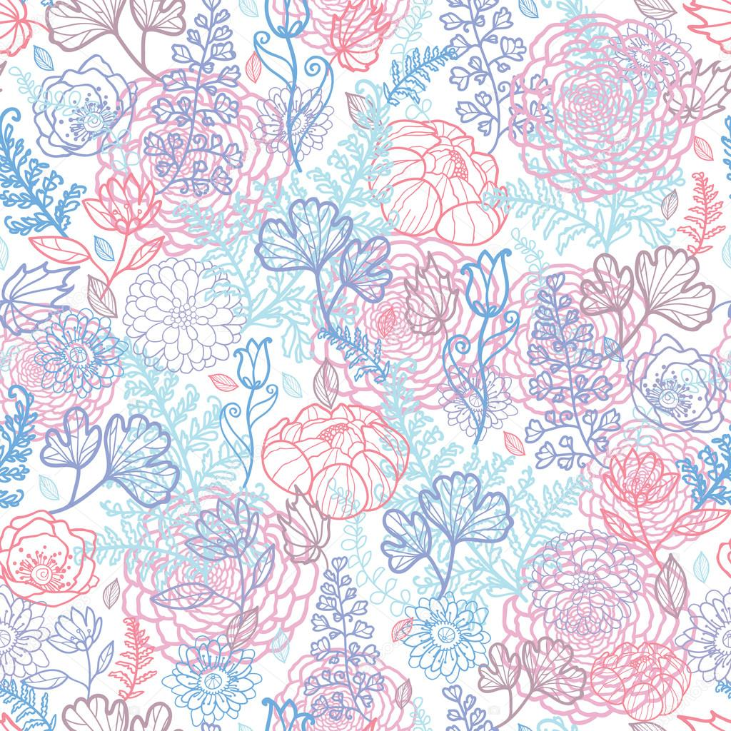 Morning colors floral seamless pattern background