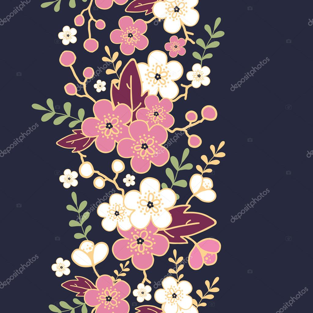 Night garden sakura blossoms vertical seamless pattern background