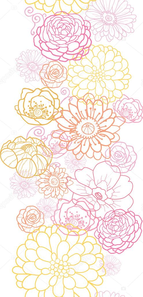 Wedding bouquet flowers vertical seamless pattern border