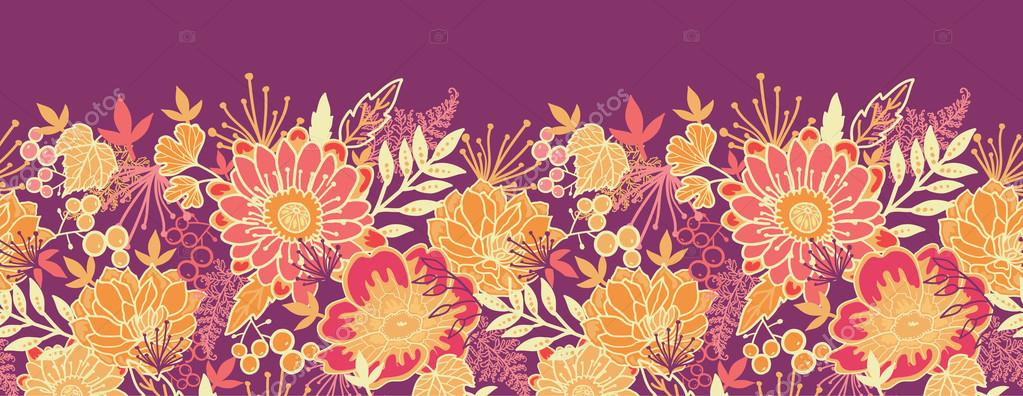 Fall Flowers And Leaves Horizontal Seamless Pattern Border Stock Vector 28302845