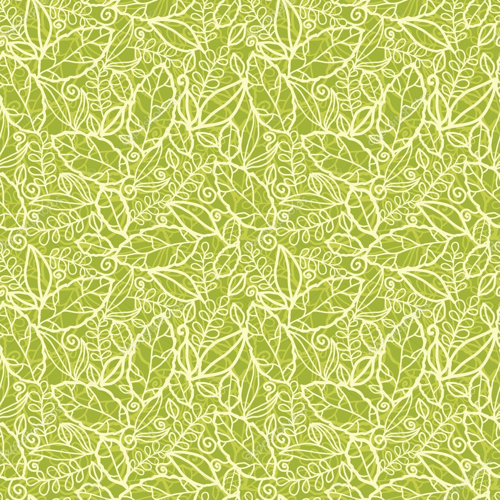 Green lace leaves seamless pattern background