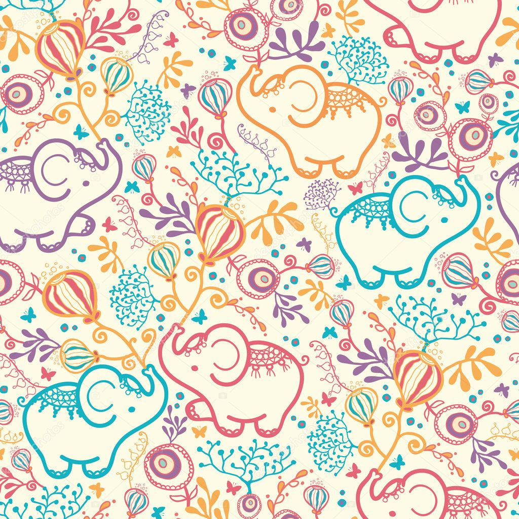 Elephants With Flowers Seamless Pattern Background