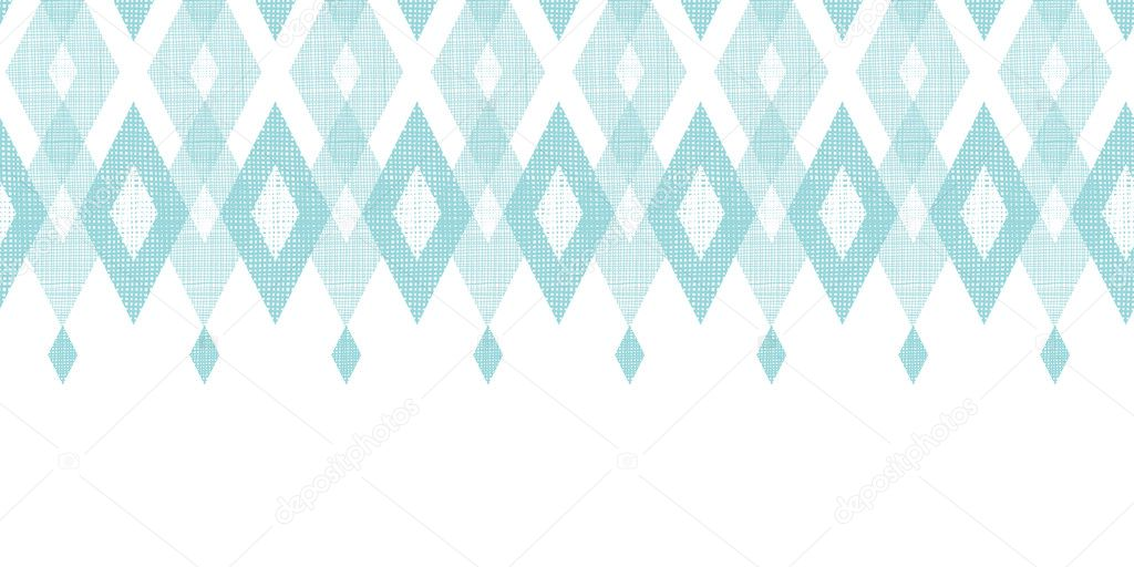 Pastel blue fabric ikat diamond horizontal seamless pattern background