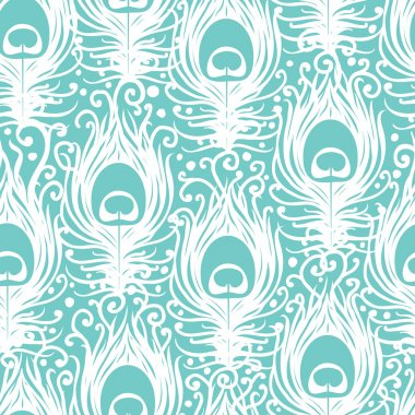 Soft peacock feathers vector seamless pattern background