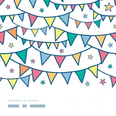Colorful doodle bunting flags horizontal seamless pattern background